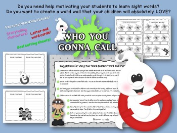 """Ghostbusters Inspired """"Word Busters"""" Word Wall + Pack"""