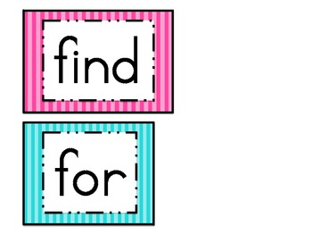 Word Cards Dolch Words (PP-3rd) {Bright Polka Dots and Stripes}