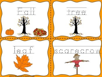 Word Cards: Fall, Halloween, and Thanksgiving
