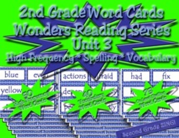Word Cards for Unit 3 Wonders Reading Series 2nd Grade