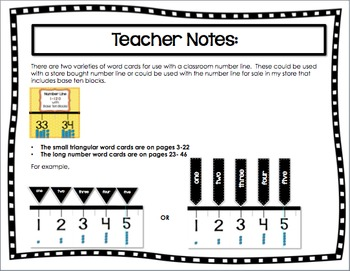 Word Form Cards for a Classroom Wall Number Line 1-120 in Two Styles