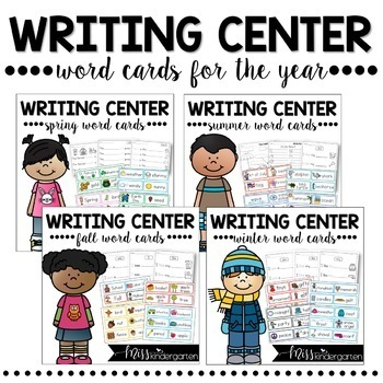 Writing Center Word Cards for the Year Bundle