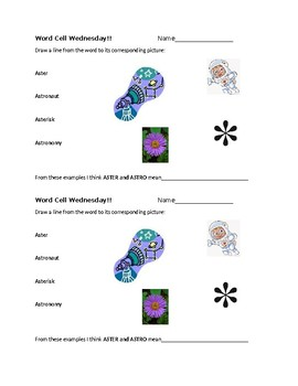 Word Cell Study: aster, astro; auto