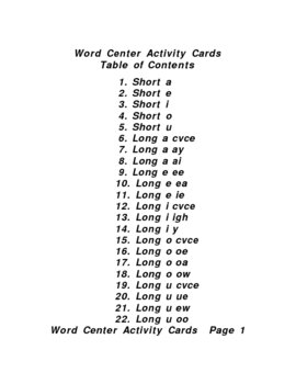 Word Center Cards Improve Reading and Spelling