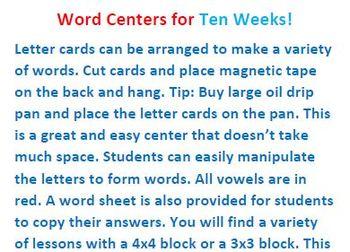 Word Center For Ten Weeks