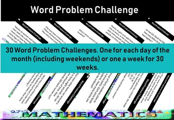 Word Challenge Problem cards - grade 2 upwards - Maths