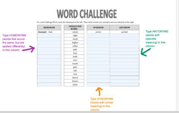 Word Challenge (and Thesaurus Practice)