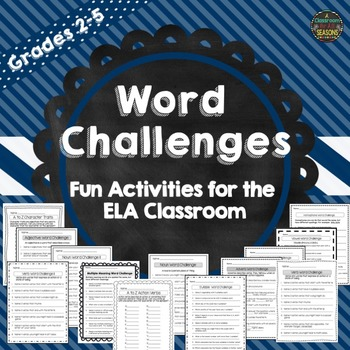 Word Challenges - Fun Worksheets for the ELA Classroom