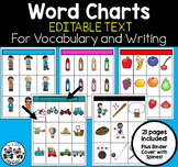 Word Charts *EDITABLE Text* for ESL/Dual Immersion Classes