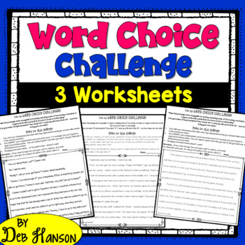 Word Choice Challenge Worksheet Packet (3 passages!) Ideal for a Center!