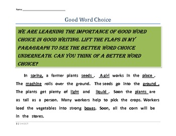 Word Choice - Choosing Specific Words