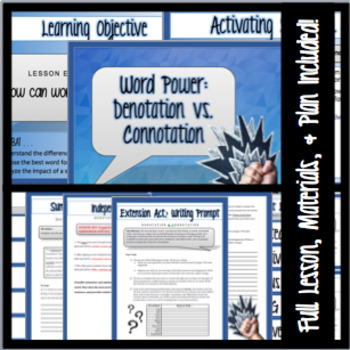 Word Choice - Denotation Vs. Connotation PowerPoint, Materials & Lesson Plan