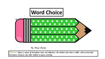 "Word Choice-""Describe An Animal"" small group activity"