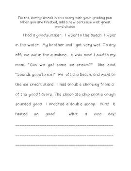 Word Choice Fix-It Paragraph