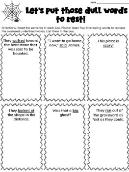 Word Choice Halloween Craftivity: The Dull Word Graveyard
