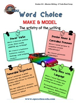 word choice poster 6 traits by operation edu tpt