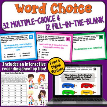 Word Choice Task Cards