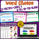 Word Choice Task Cards   PDF and Digital  