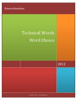 Word Choice - Technical Words for Writers Topics