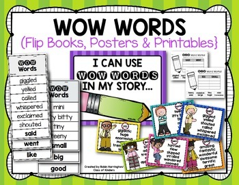 Word Choice {WOW Words} Flipbooks & Posters for First Grade & Kindergarten