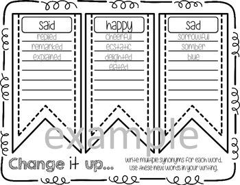Word Choice Writing Graphic Organizer