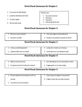 Word Chunk Game Sentences for Spanish 1