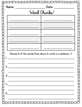 Word Chunk Recording Sheet {Word Chunks!}