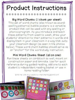 Word Chunks Poster Set 1 for Spelling & Phonics Instruction
