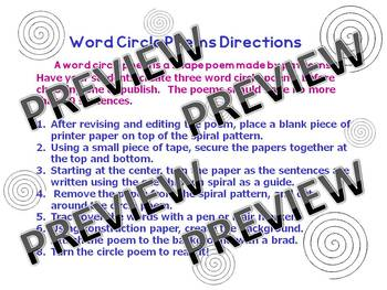 Word Circle Poems- for Thanksgiving, other holidays, any topic!