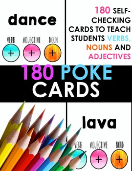 Word Class Poke Cards - 180 Self-Checking Cards for Nouns, Verbs and Adjectives