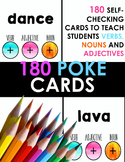 Word Class Poke Cards - 180 Self-Checking Cards for Nouns,
