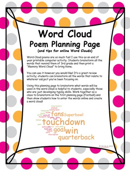 Word Cloud Poem Planning Page (and tips for online Word Clouds)