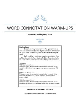 Word Connotations Activity