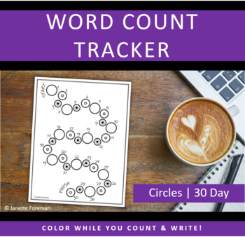 Word Count Tracking Sheet | 30 Day Goal Setting | Circles | GREAT for NANOWRIMO!