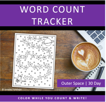 Word Count Tracking Sheet | 30 Day Goals | Outer Space | GREAT for NANOWRIMO!