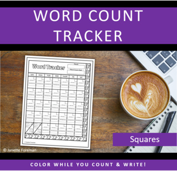 Word Count Tracking Sheet | Goal Calendar | Squares | GREAT for NANOWRIMO!