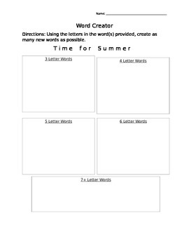 Word Creator- Time for Summer