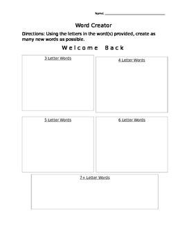 Word Creator- Welcome Back