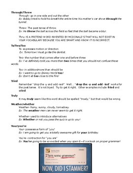 Word Crimes - Commonly Misspelled Words Grammar and Spelling Notes