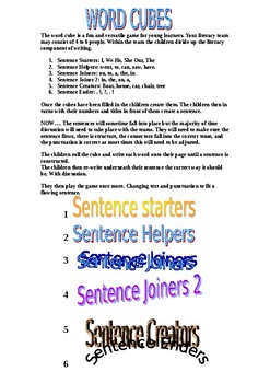 Word Cube - Group Literacy Game - Sentence structure