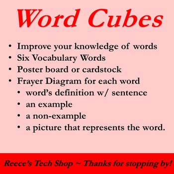 Word Cubes Activity