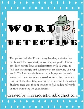 Word Detective--word work activity.
