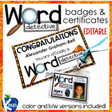 Word Detective Badges & Certificates (Editable)