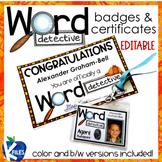 Word Detective Badges & Certificates (Editable)