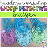 Editable Word Detective Badges: Reader's Workshop