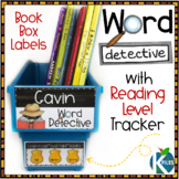 Word Detective Book Box Label with Reading Level Tracker