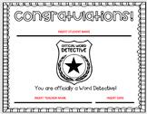 Word Detective Certificate