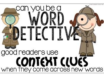 Word Detective; Context Clues Anchor Chart