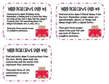 Word Detective Reading Task Cards