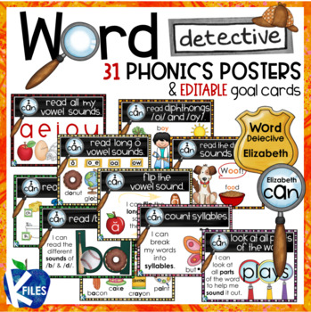 Word Detective Phonics Strategy Posters and Goal Cards